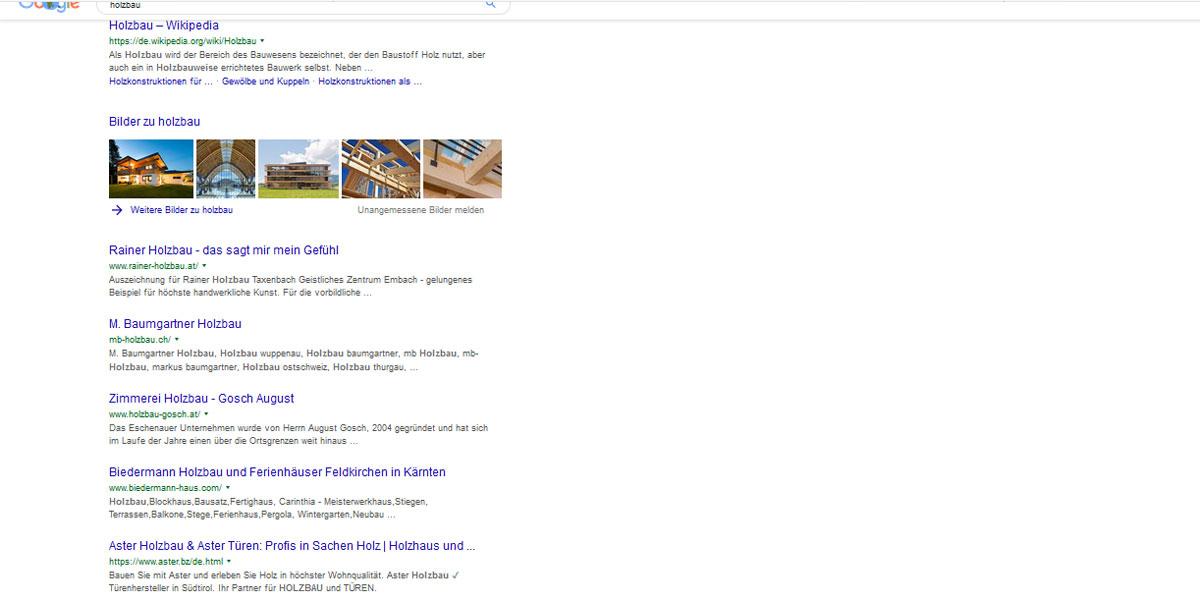 Zielgruppe Google-Holzbau